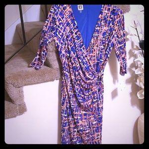 Anne Klein colorful wrap dress Size 8. Brand new.